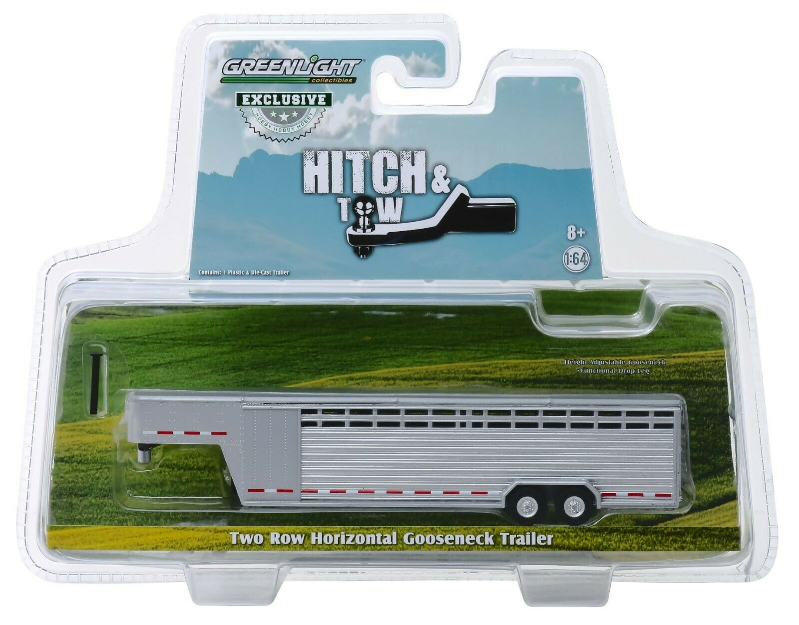 1:64 GreenLight *ALUMINUM* Divided Two Row Side LIVESTOCK TRAILER NIP