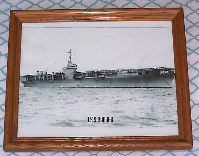 U.S.S. Ranger United States Navy WWII era Aircraft Carrier framed photograph