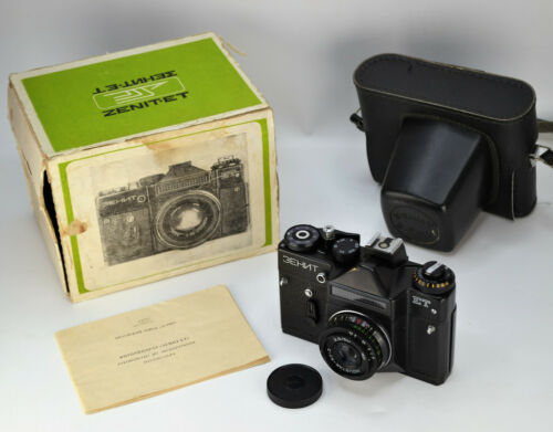 "EXC! RUSSIAN USSR ""ZENIT-ET"" camera + INDUSTAR-50-2 lens, BOX/GUIDE (6)"