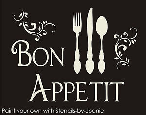 Bon Appetit Stencil French Scroll Shabby Cottage Kitchen Eat Fun Fork