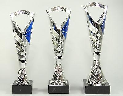 Super 3 er Serie Pokale 28 - 30 cm Silber/Blau inkl. Gravur und Emblem 476