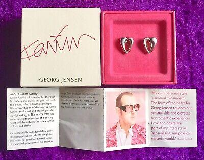 BNIB🎁GEORG JENSEN Sterling Silver 2006 Artist Heart EARRINGS by KARIM RASHID.