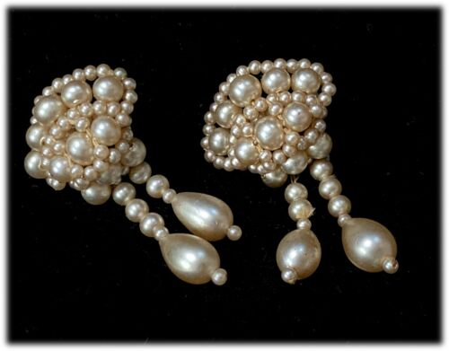 True Vintage Antique Champagne Faux Pearl Beaded Drop Dangle Screwback Earrings