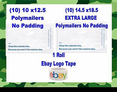 21 Total - Ebay Branded Polymailers Envelopes Shipping Supplies Kit Plus Tape