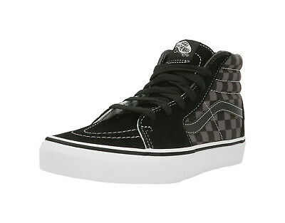 VANS SK8-Hi Checkerboard Black Pewter Suede Canvas Lace Up Kid Sneaker Boy Shoes Pewter Kids Shoes