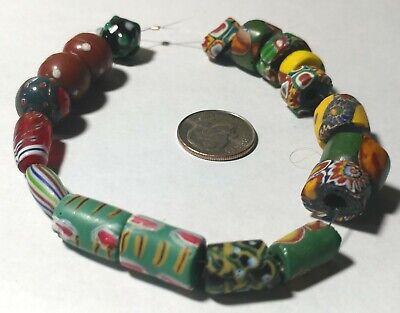 18 Antique Venetian African Glass Trade Beads