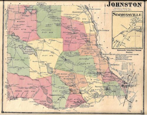 1870 JOHNSTON,  RI. MAP REMOVED FROM THE BEERS ATLAS 0F 1870