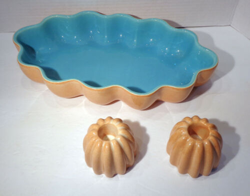 Vintage Catalina Pottery Scalloped Blue & Salmon Console Bowl & Candle Holders!