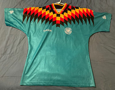Germany Soccer Jersey L 1994 1996 World Cup Away adidas vintage Football Green image
