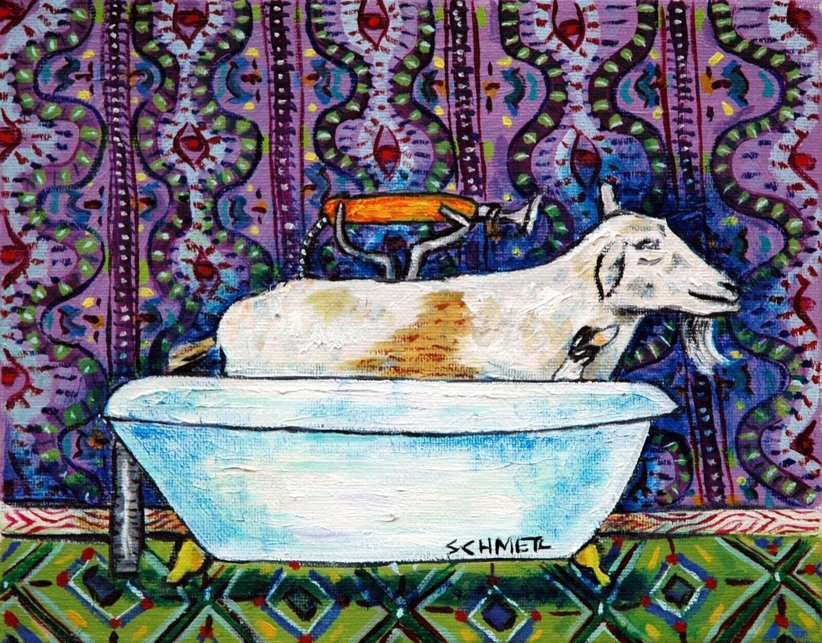 shar pei dog taking a bath  art print 4x6 modern gifts bathroom
