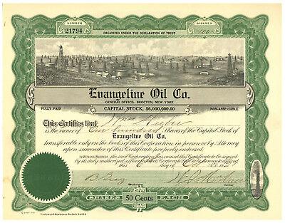 Evangeline Oil Company. Stock Certificate
