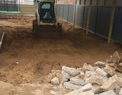 Bobcat excavator and tipper work dingo aswell