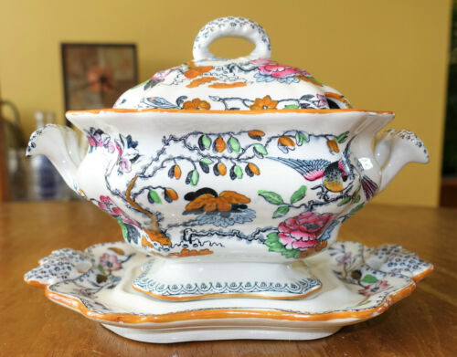 Antique Ashworth Ironstone Flying Bird Sauce Tureen & Underplate Staffordshire