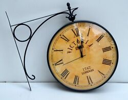Home Garden Vintage Industrial Double Sided Clock Victoria Railway Station Clock