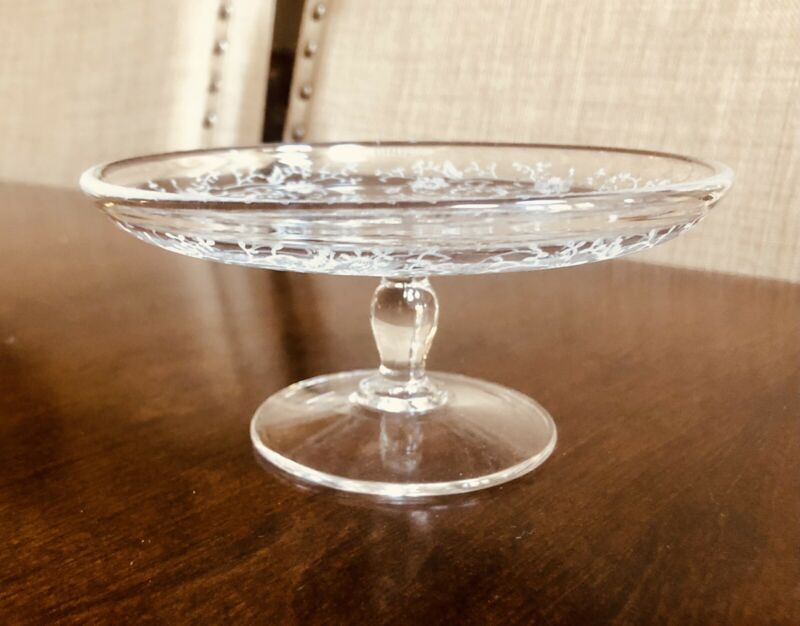 """Clear ETCHED GLASS 5.5"""" COMPOTE"""