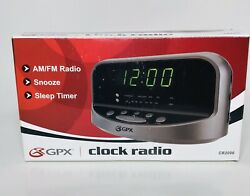 GPX Alarm Clock AM/FM Radio with Green LED Display Gray And Black *New Open Box