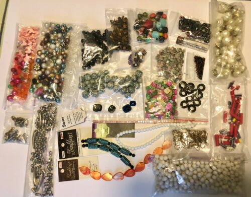 Lot of Vintage & New Beads & Findings - stone, plastic, glass, micro seed, more