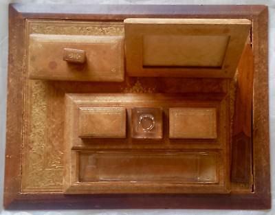 Vintage 10 Piece Honey Brown Gilt Leather Desk Set - 18 X 14