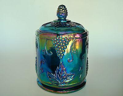 "Indiana Glass Harvest Grape Blue Carnival Canister Biscuit 7"" Jar"