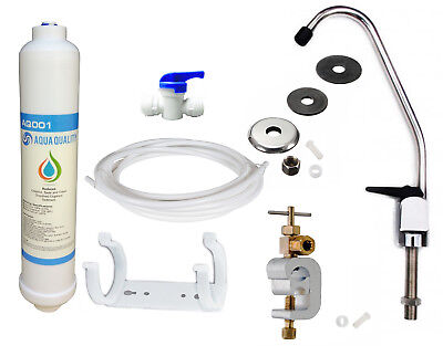 Under Sink Drinking Water Filter Kit System Including Lever Tap and Accessories