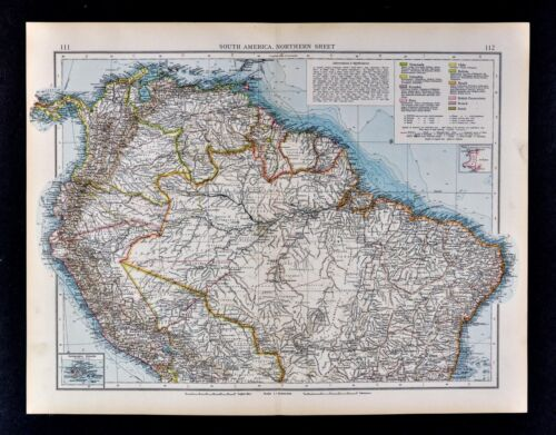 1900 Times Map Venezuela Colombia Brazil Amazon Andes Peru Ecuador South America