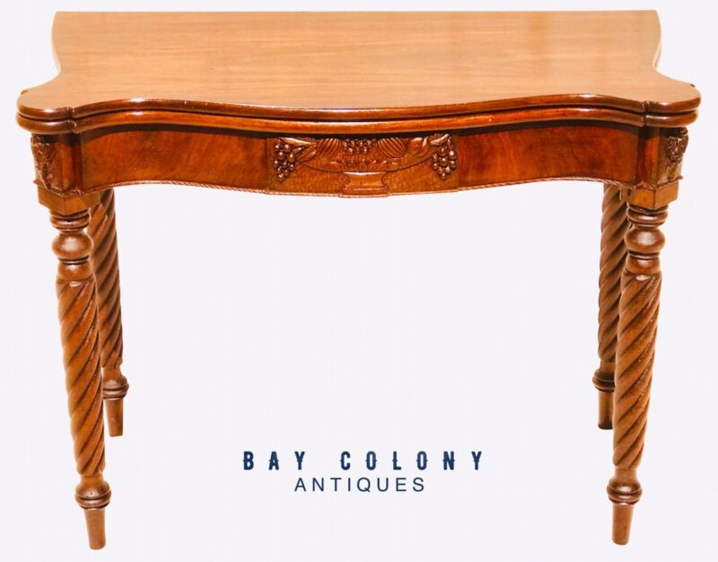 18TH C MCINTIRE SCHOOL FEDERAL PERIOD OVOLO TOP ANTIQUE MAHOGANY GAME TABLE