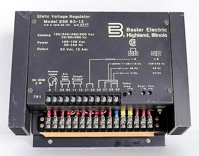 BASLER ELECTRIC SSR 63-12 STATIC VOLTAGE REGULATOR 9185900101