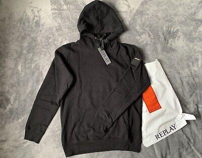 Replay Mens Hoodie Black Hooded Sweatshirt Size XL (Brand New, 100% Genuine)