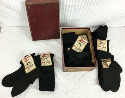 OLD Store Stock 1910 20s Kenmore Girl Children Doll Socks w Label and Box