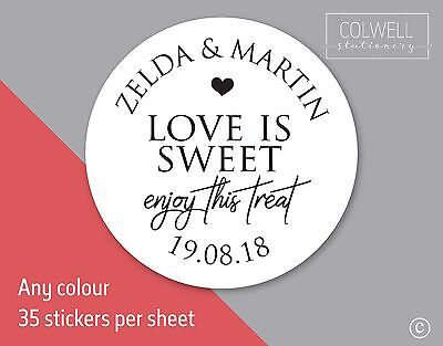 LOVE IS SWEET ENJOY TREAT wedding stickers labels seal names bag jar favours S16 - Love Is Sweet Stickers