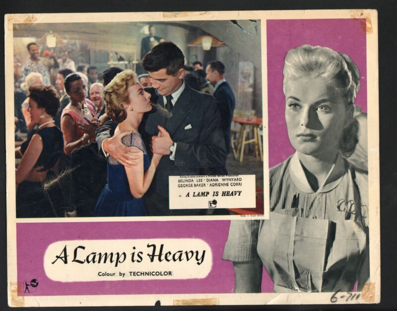 Lamp is Heavy Lobby Card-George Baker holding Belinda Lee in an embrace.