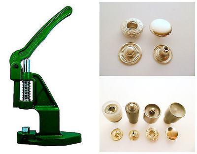 Druckknopfpresse + 180 Druckknöpfe ALFA / 15mm silber + Werkzeug für Leder, Tuch