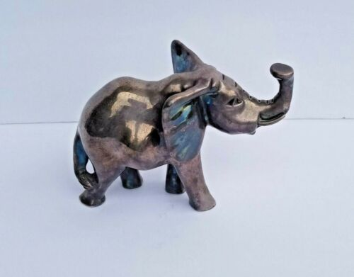 ANTIQUE SILVER ELEPHANT FIGURINE STERLING 925 ANIMALS FIGURE HOME-DECOR SZ. MED