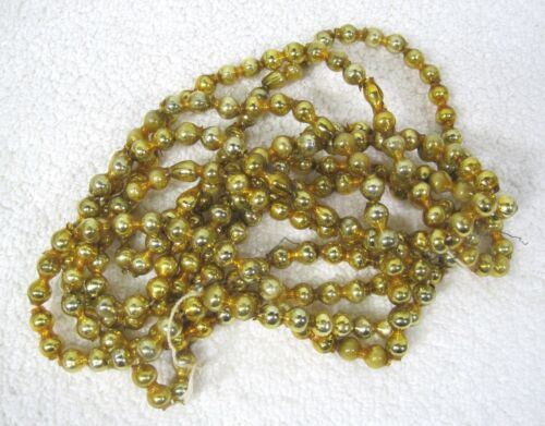 "OLD GOLD Mercury Glass Double Bar Bead Christmas Garland 85"" 5/8"" Beads GLD6"