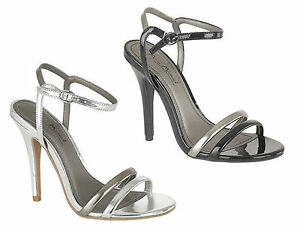 Womens-Ladies-High-Heel-Open-Toe-Metallic-Strappy-Sandals-Court-Shoes-Size-3-8