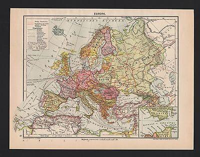 Landkarte map 1929: EUROPA. Strasse von Gibraltar. Atlantischer Ozean