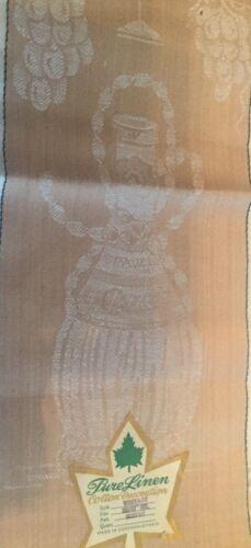 Vintage Linen Damask Towel Unused Czechoslovakia