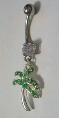 Green Enamel, Clear Rhinestones & Silver Tone Palm Tree Belly Button Ring ()