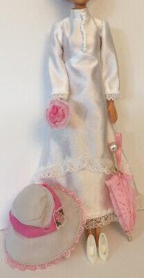 Barbie Fashion Doll Vintage Wedding Dress Parasol Hat Shoes Clothes Bundle Lot