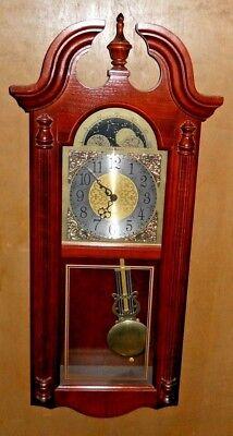 "HOWARD MILLER CLASSIC WALL CLOCK CHERRY FINISH DUAL CHIME BATTERY 30"" X 13"" X 5"""