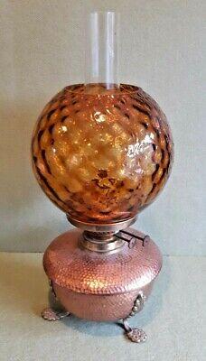 Vintage Hammered Copper Base Oil Lamp  Hammered Copper Oil Lamp