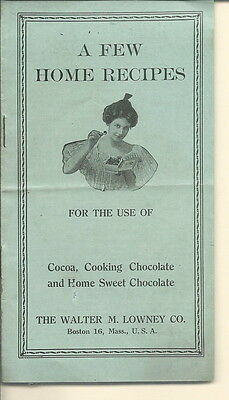 AE-029 - Few Home Recipes, Lowney Cocoa and Chocolate 1930's Booklet Vintage