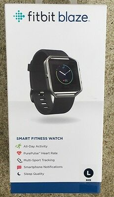 Fitbit - Blaze Smart Fitness Watch (Large) - Black New In Box
