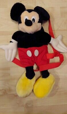 """VINTAGE DISNEY MICKEY MOUSE BACKPACK Plush WITH Zippered Pouch SOOO CUTE 17"""""""
