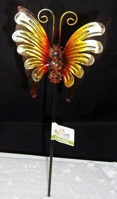 Exhart 3D Butterfly Yellow Class Balls Plant Garden Stake Pick Metal 14