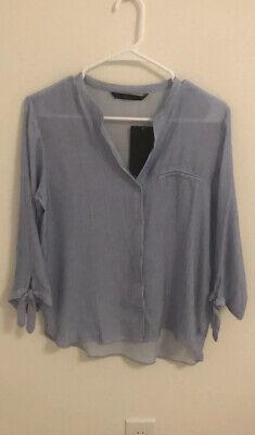 Zara Women Basic Blue Blouse Shirt
