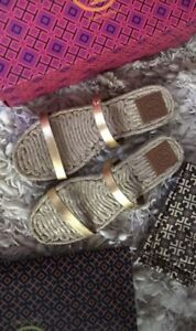 Tory Burch two band gold espadrilles