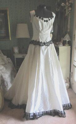 One of a Kind Ivory Black Silk Gothic Formal Ball Gown Wedding Dress Civil War