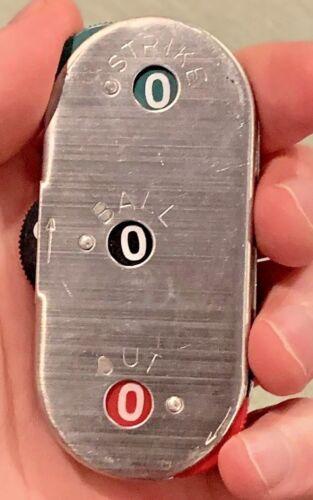 Vintage Baseball Umpire Count Indicator Metal Balls Strikes Outs Clicker Counter