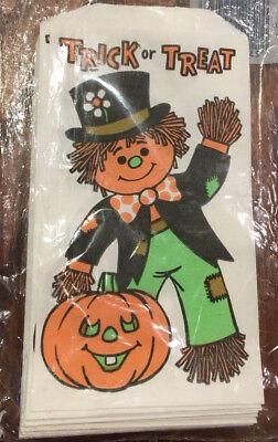 Vtg 1981 Fun World Trick Or Treat HALLOWEEN Small Treat Bags Scarecrow  NOS 80
